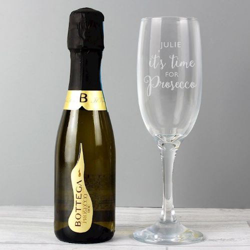 'It's Time for Prosecco' Flute & Mini Prosecco Set